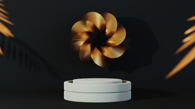 3d-rendering des podiums auf schwarzem hintergrund luxus minimalistisch.
