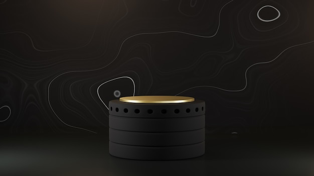 3d-rendering des podiums auf schwarzem hintergrund luxus minimalistisches modell.