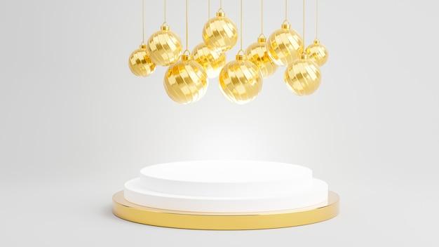 3d-rendering des podiums mit dekorierter goldkugel für produktanzeige