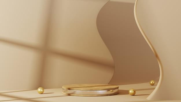 3d-rendering des podiums mit holzmaserung mit silbernen streifen zur anzeige von produkten in einem hellbraunen raumhintergrund. für showprodukt. leeres szenen-schaufenstermodell.