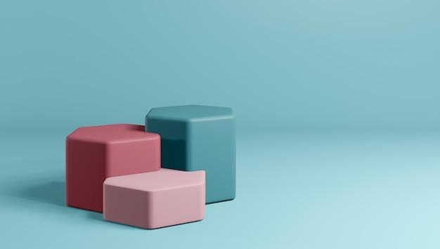 3d-rendering des podiums oder des sockels des minimalen stils auf buntem pastellhintergrund.