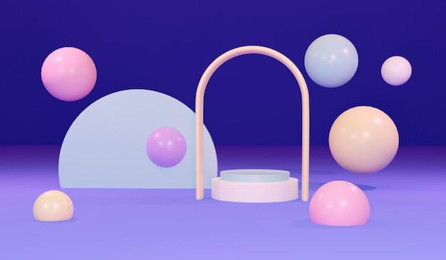 3d-rendering des podiumsdisplayhintergrunds mit geometrischem element