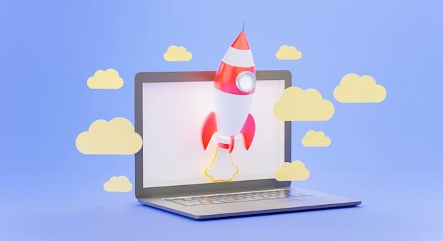 3d-rendering des raketenstarts mit laptop