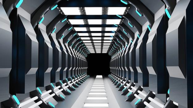 3d-rendering des realistischen dunklen sci-fi-korridors