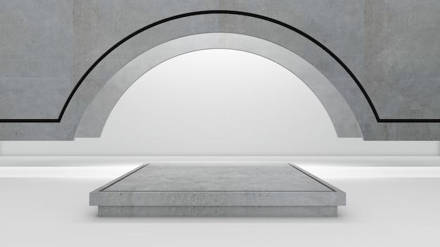 3d-rendering des rechteckpodestes für showprodukt