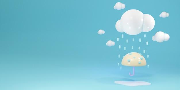 3d-rendering des regenschirms unter regenwolke mit platz für das textkonzept des regenzeithintergrunds
