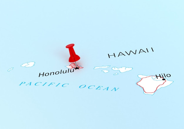 3d-rendering des reiseziels hawaii state