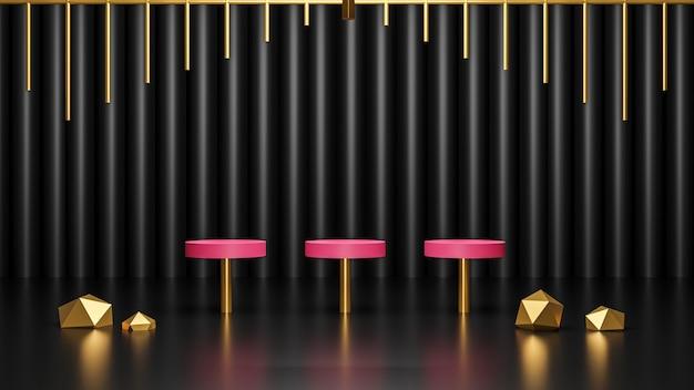 3d-rendering des rosa podiums mit glänzenden goldenen kristallen auf dunklem schwarzem hintergrund