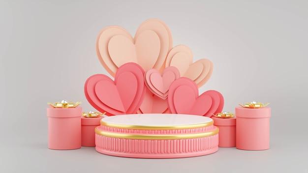 3d-rendering des rosa podiums mit valentinskonzept für produktanzeige