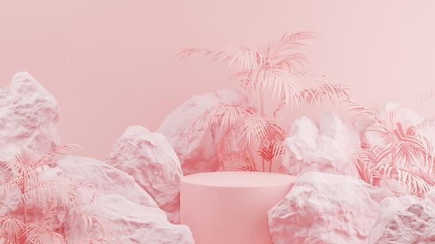 3d-rendering des rosa podiumzylinders mit felsen