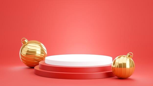 3d-rendering des roten podiums mit goldener kugel für produktanzeige
