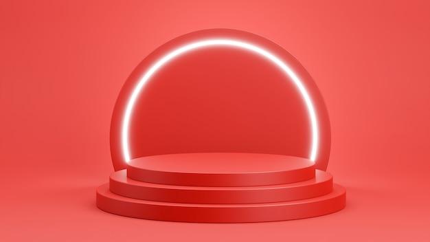 3d-rendering des roten podiums mit hellem neon für produktanzeige