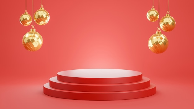 3d-rendering des roten podiums mit schwebender goldener kugel für produktanzeige