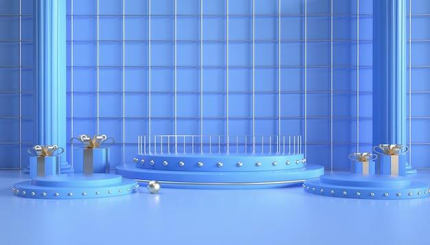 3d-rendering des runden hellblauen podiums für produktanzeige