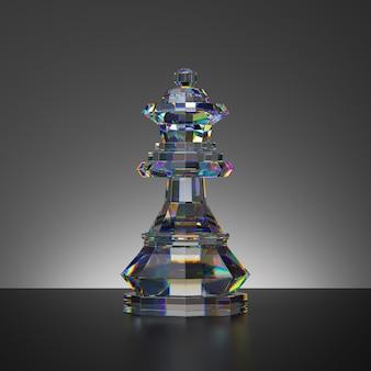 3d-rendering des schachspiels isolierte kristallkönigin-stück