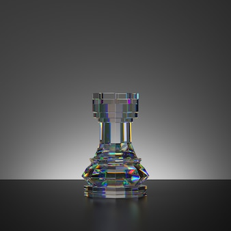 3d-rendering des schachspiels isolierte kristallturmfigur