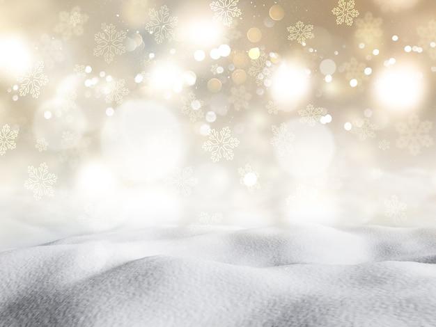 3d-rendering des schnees gegen einen bokeh beleuchtet hintergrund