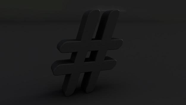 3d-rendering des schwarzen hashtag-symbols auf schwarzem hintergrund.