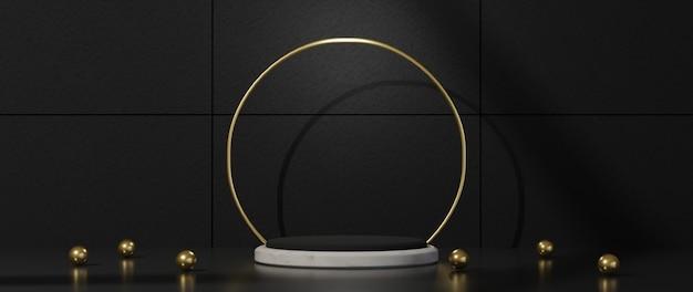 3d-rendering des schwarzen podestsockels auf schwarzem hintergrund isoliert. luxus minimalistisches modell m