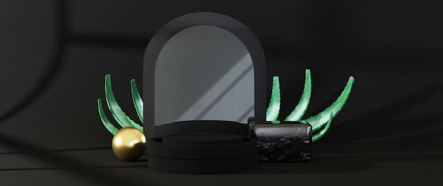 3d-rendering des schwarzen podestsockels auf schwarzem hintergrund isoliert.