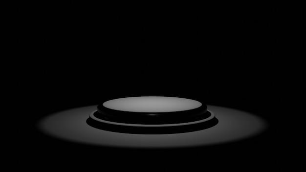 3d-rendering des schwarzen podiums in einem dunklen raum