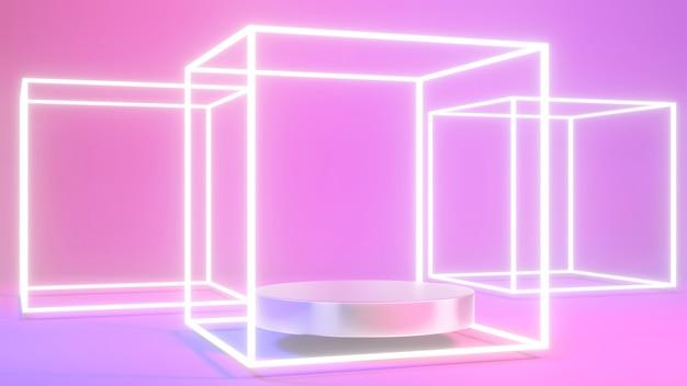 3d-rendering des silbernen podiums-produktpräsentationsständers mit abstraktem quadratischem led-licht