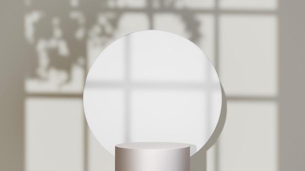3d-rendering des silbernen podiums zur anzeige von produkten und fensterschattenhintergrund. mockup für showprodukt.