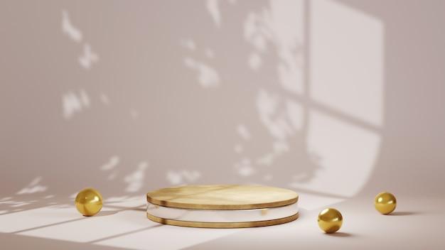 3d-rendering des silbernen streifenpodiums und des goldenen stahlkugelhintergrundes. mockup für showprodukt.