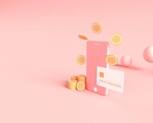 3d-rendering des smartphones mit kreditkarte