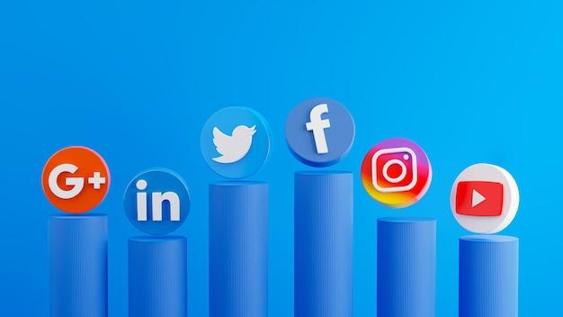 3d-rendering des smartphones mit symbol der sozialen medien auf dem podium