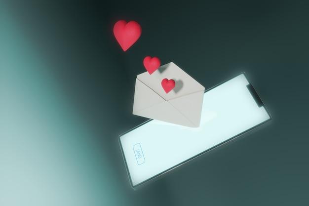 3d-rendering des smartphones senden einer liebesnachricht. valentinstag konzept