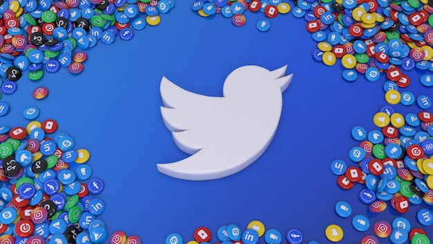 3d-rendering des social-media-logos, umgeben von vielen der beliebtesten hochglanzpillen des sozialen netzwerks über blauem hintergrund