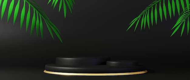 3d-rendering des sockels auf schwarzem hintergrund isoliert. luxuriöses minimalistisches modell.