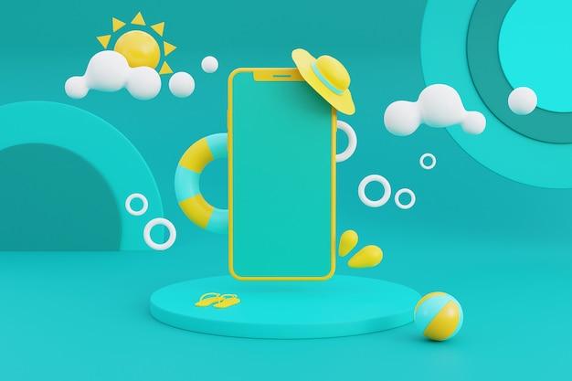 3d-rendering des sommerferienkonzepts mit smartphone und sommerelementen. 3d-rendering.