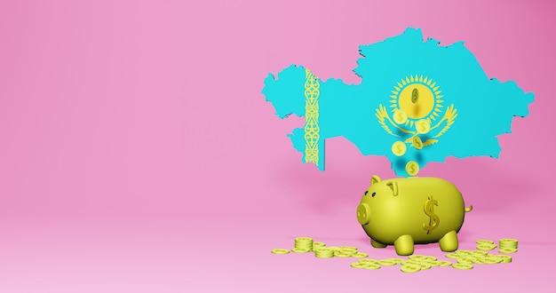 3d-rendering des sparschweins als positives wirtschaftswachstum in kasachstan