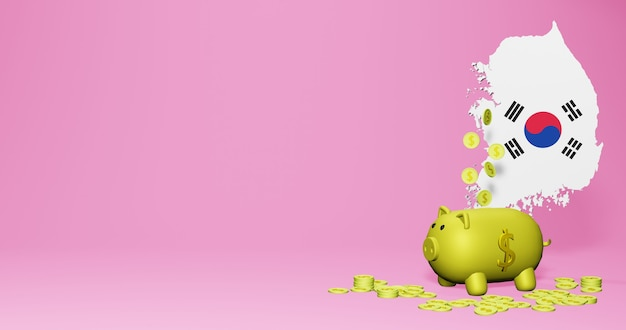 3d-rendering des sparschweins als positives wirtschaftswachstum in korea