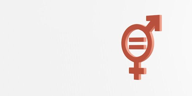 3d-rendering des symbols für die gleichstellung der geschlechter