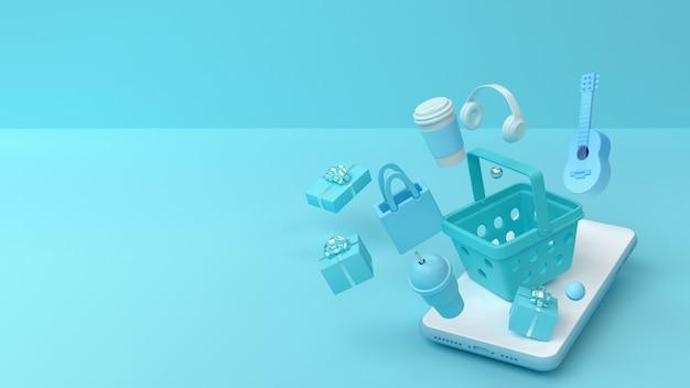 3d-rendering des telefonmodells und des einkaufskorbs.