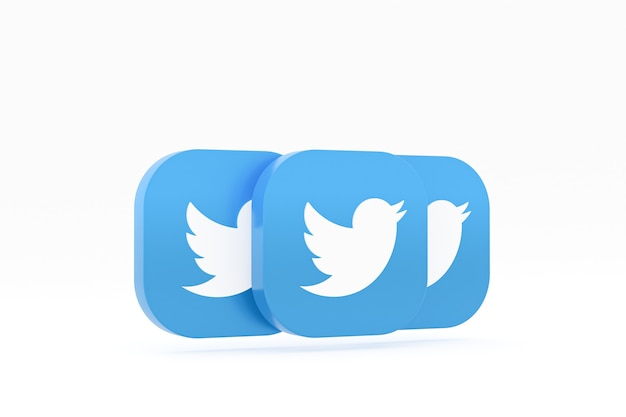 3d-rendering des twitter-anwendungslogos auf weißem hintergrund