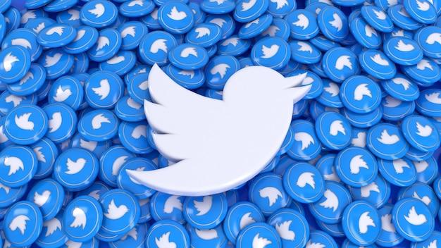 3d-rendering des twitter-logos über viele hochglanzpillen von twitter