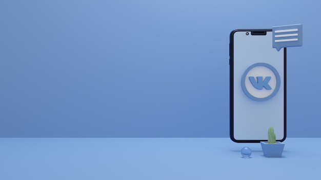 3d-rendering des vk-logos auf dem smartphone