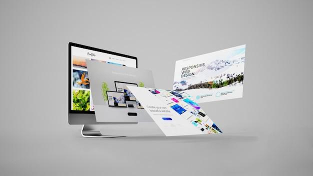 3d-rendering des webdesign-konzepts