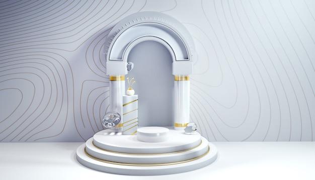 3d-rendering des weißen geometrischen hintergrunds mit schönheitsprodukten für anzeigemodell