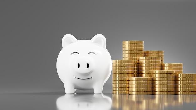 3d-rendering des weißen sparschweins und der goldmünze