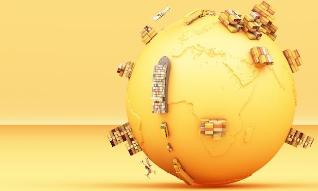 3d-rendering des weltweiten frachtcontainertransports