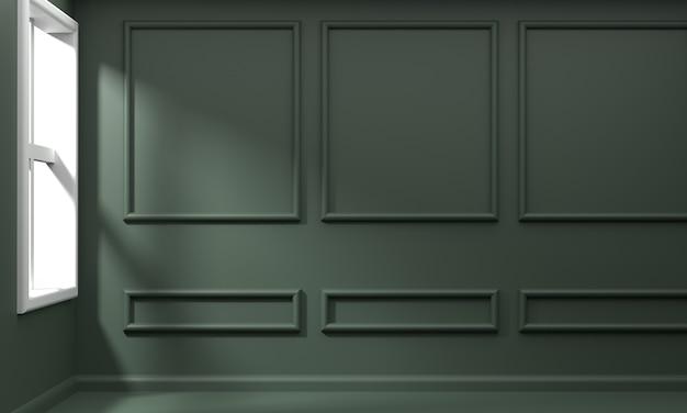 3d-rendering des wohnzimmers mit luxuriöser grüner gipswand, die sonnenlicht morgens formt