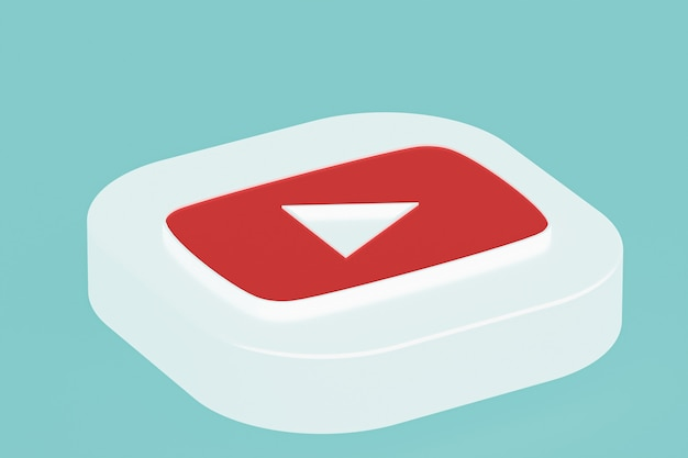 3d-rendering des youtube-anwendungslogos auf blauem hintergrund