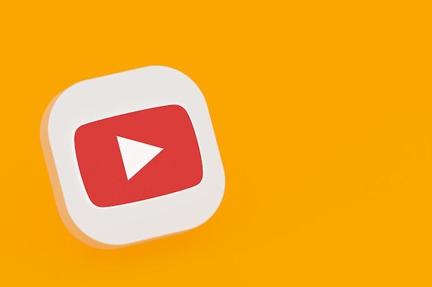 3d-rendering des youtube-anwendungslogos auf gelbem hintergrund