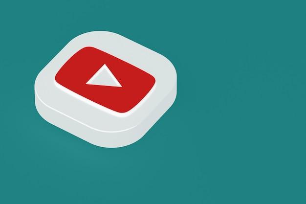 3d-rendering des youtube-anwendungslogos auf grünem hintergrund