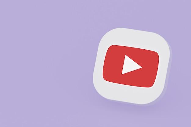 3d-rendering des youtube-anwendungslogos auf lila hintergrund